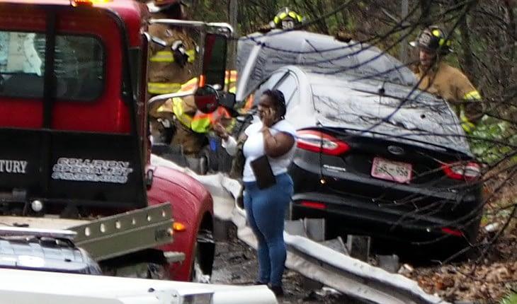 Car Hits 422 Guardrail At Sanatoga Road Bridge