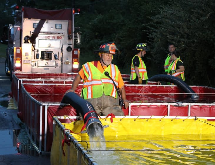 Fire Crews, Tanker Force Gathered Thursday in Sanatoga Drill
