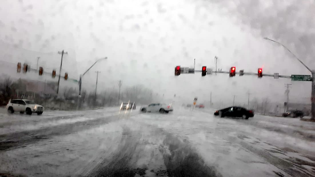 Slippery Snow Began Saturday Just As Predicted